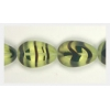 Glass Cut Bead Flat Pear Shape 18x12mm Strung- Olive Stripe